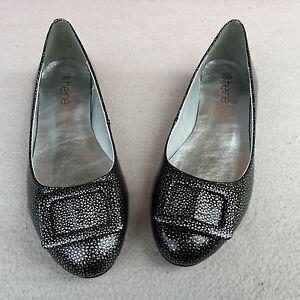 f725ab7e8e8ef Details about ECHT LEDER Damen LACK Ballerinas HEINE Schuhe Slipper Pump  Schwarz Silber Gr. 36