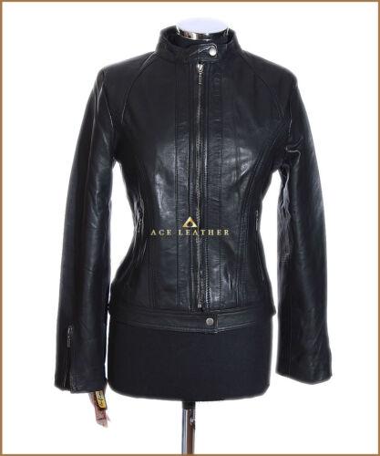 agnello New vera giacca in Ladies Mila di Designer Black Biker Style pelle ERPxYSqw