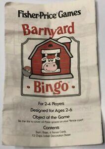 Complete Fisher Price BARNYARD BINGO Game w// Case No Reading Required Preschool