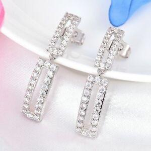 18K-White-Gold-white-crystal-Dangle-Earrings-butterfly-fixing-373