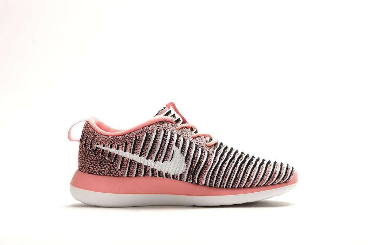 Womens NIKE ROSHE TWO FLYKNIT Bright Melon White-Black Trainers 844929801