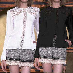 Womens-Long-Sleeve-Casual-Hollow-Lace-Ladies-Blouse-Jumper-T-Shirt-Outwear-Tops