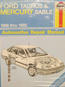 ford taurus and mercury sable 86 92 automotive repair manual by rh ebay com Haynes Manual Pictures Back Haynes Manual Pictures Back