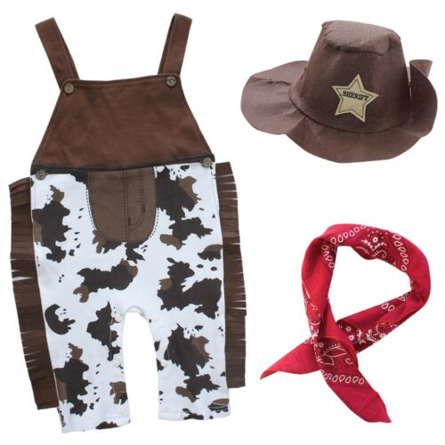 3PCS Baby Boy Cowboy Halloween Costume Western Sheriff Fancy Suspenders Outfit