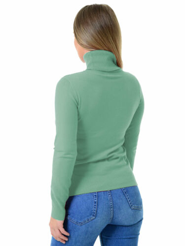 Womens Italian Polo Roll Neck Soft Knitted Fitted Long Sleeve Ladies Jumper Top