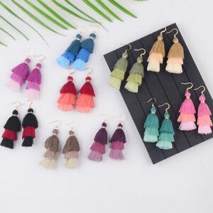 Fashion-Boho-3-Layers-Fringe-Long-Tassel-Earrings-Dangle-Ear-Hook-Charm-Jewelry