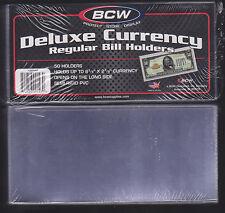 50 REGULAR  BCW DELUXE CURRENCY SLEEVE BILL  HOLDERS PAPER MONEY SEMI RIGID.3