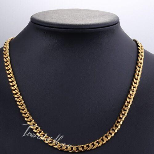 Collar de tono oro 7mm para Hombres Chicos frenar Eslabón Cubano Cadena De Acero Inoxidable Regalo