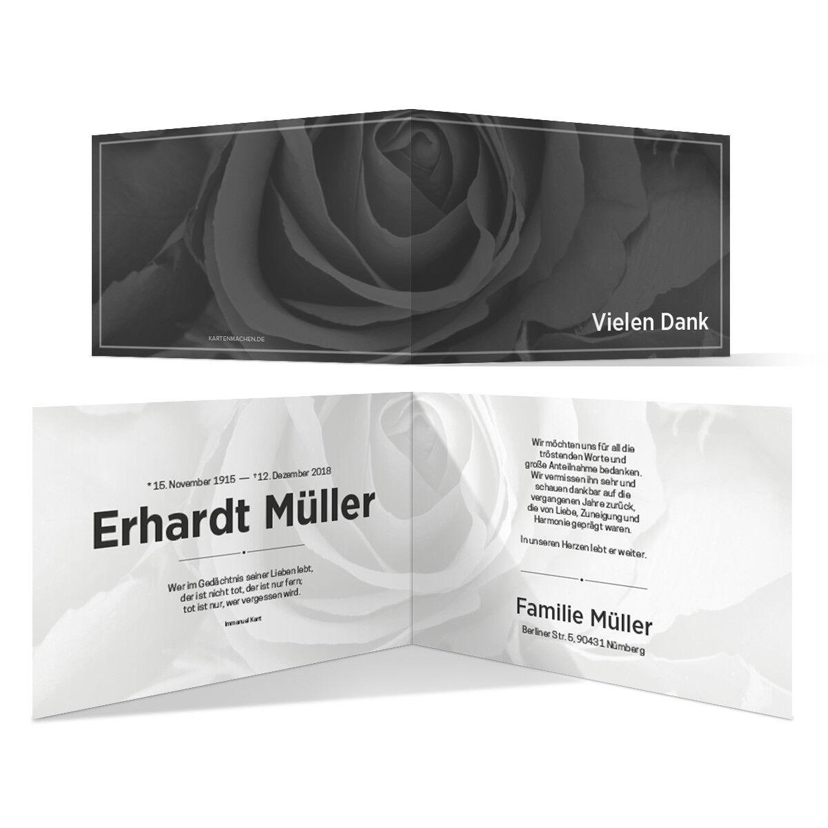 Trauer Dankeskarten Danksagung Trauerkarten individuell - Schwarz-Weiß Rosa   | Züchtungen Eingeführt Werden Eine Nach Der Anderen  | Kompletter Spezifikationsbereich