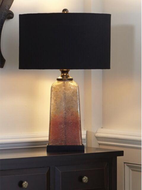 Split P Striae Lamp with Shade Gold