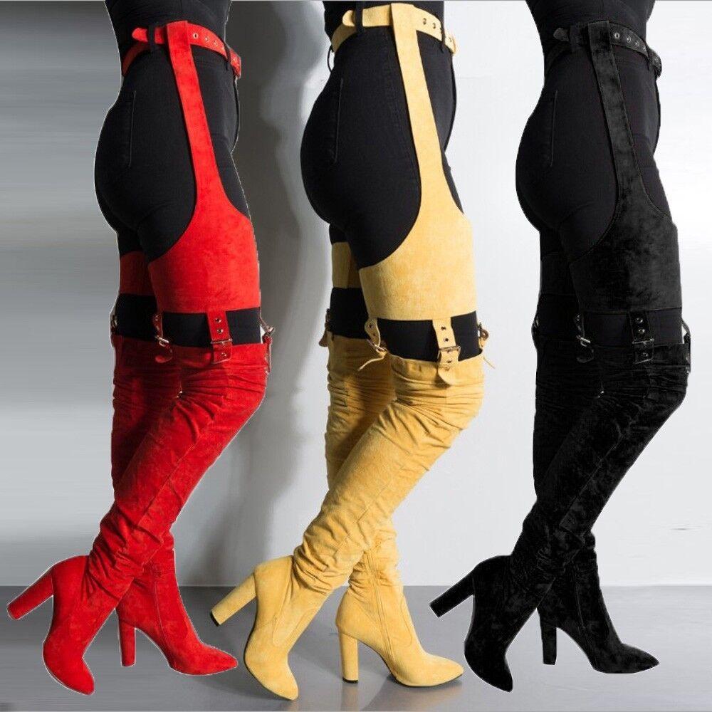 Mujeres Sobre la Rodilla botas Altas Muslo Cinturón Puntiagudo Puntiagudo Puntiagudo Tacones Altos botas Largas De Moda zsell f42459