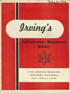 Vintage IRVING'S DELICATESSEN Restaurant Bakery Menu, Inglewood California