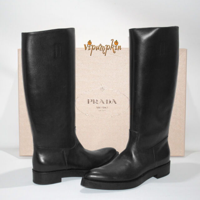 best website 9497c 0095e PRADA Calzature Donna Prestige Calf Leather BOOTS Moro 1w394e 8 US 38 EU