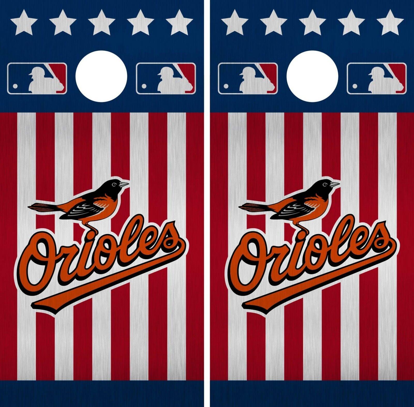 Baltimore Orioles Cornhole Wrap MLB America Game Skin Set Vinyl Decal CO367