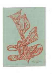 Fritz-Klee-original-Pastell-Zeichnung-1951-21x15-5-cm