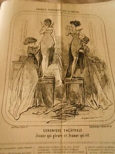 Caricatura-1868-Cronica-Theatrale-Jeanne-que-llorando-y-Jeanne-que-rit