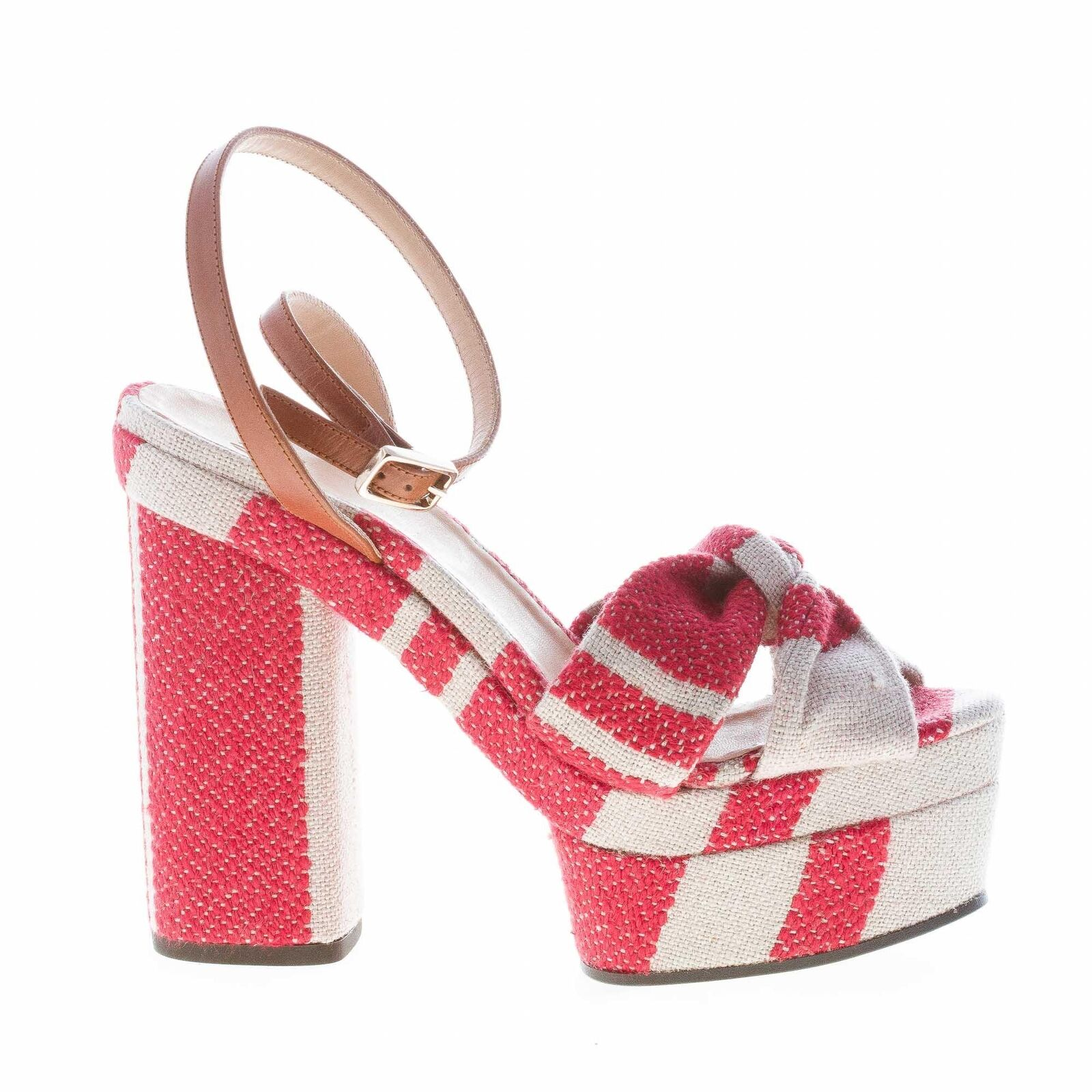 CASTANER women shoes Red and beige striped canvas platform sandal knot AMAIA318