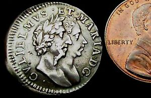S387-1689-William-amp-Mary-Conjoined-Busts-Silver-Fourpence-or-Groat