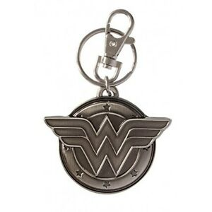 DC-Comics-Wonder-Woman-3D-034-WW-034-Chest-Logo-Metal-Pewter-Key-Ring-Keychain-NEW