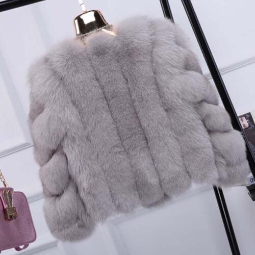Womens Winter Faux Fox Fur Short Jacket Coat Slim Fit Warm Outwear Soft Fur Coat