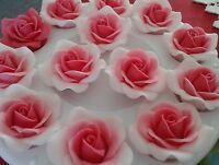 A set of 12 Handmade Edible Sugar Roses/ flowers  cupcake/cake topper