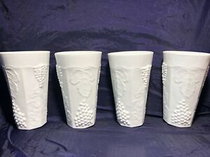 "Vintage 3 Tall Milk Glass Drinking Cups Tumbler GRAPE & LEAF PATTERN 6"" Each"