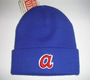 sale retailer 0e516 d0e18 ... switzerland image is loading atlanta braves mlb beanie toque knit hat  nwt d148f c4e82