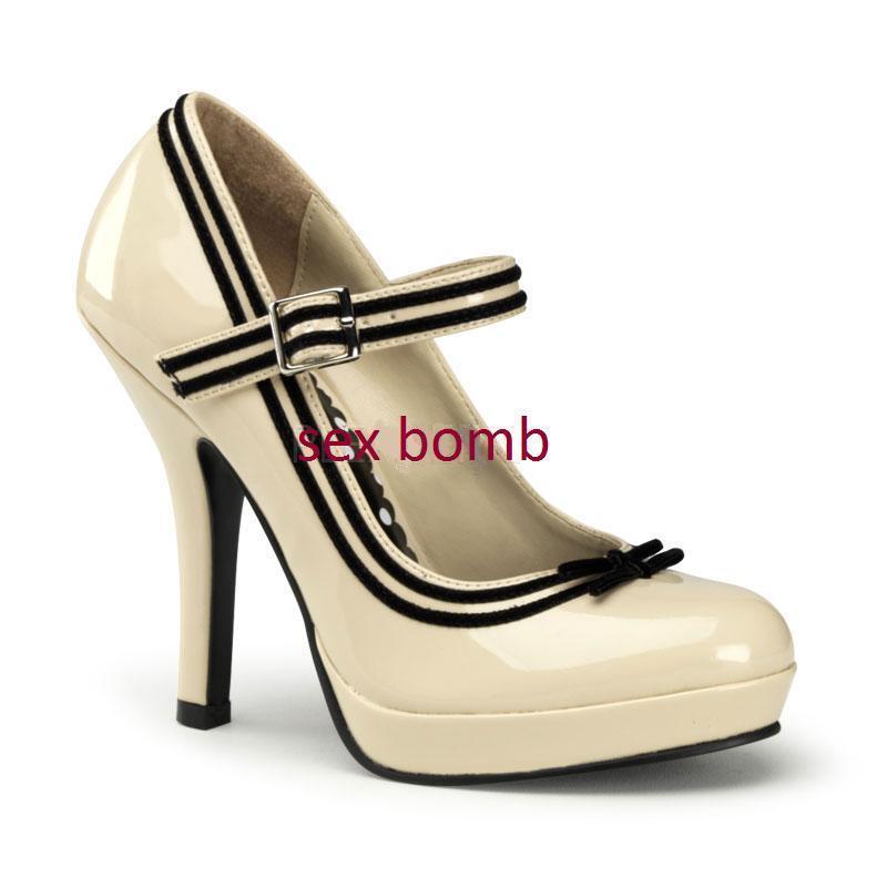 Descuento barato SEXY scarpe decolte pin up CREMA mini plateau tacco 11,5 DAL n. 35 AL 41 GLAMOUR