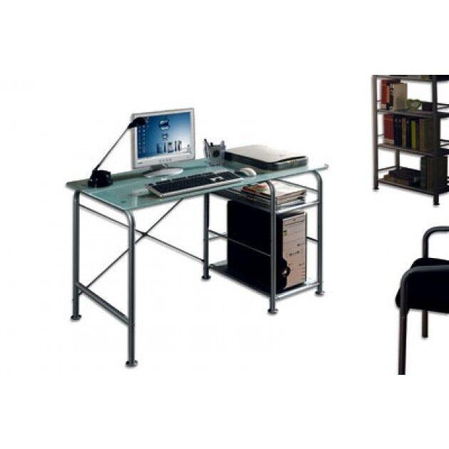 Scrivania Pc In Vetro.Techly Scrivania Per Pc Compatta In Metallo E Vetro Con Ruote Clcshop Itc