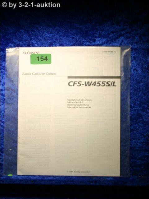 Sony Manual Cfs W4555s  L Cassette Corder   0154