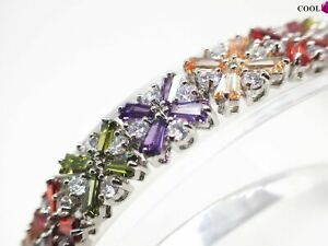 18K-18ct-White-gold-10mm-Multi-color-Flower-Gemstone-Women-Tennis-bracelet-8-039