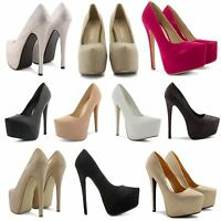 NEW LADIES CONCEALED PLATFORM POINTED TOE VERY HIGH STILETTO HEEL COURT SHOES