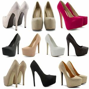 NEW-LADIES-CONCEALED-PLATFORM-POINTED-TOE-VERY-HIGH-STILETTO-HEEL-COURT-SHOES
