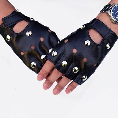 Women Punk Rock Half Finger Gothic Gloves Cosplay Costume Rivets Studded Biker