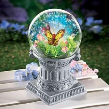 Solar Powered Fiber Optic Butterfly Gazing Ball w/ Stone-Like Finish Base