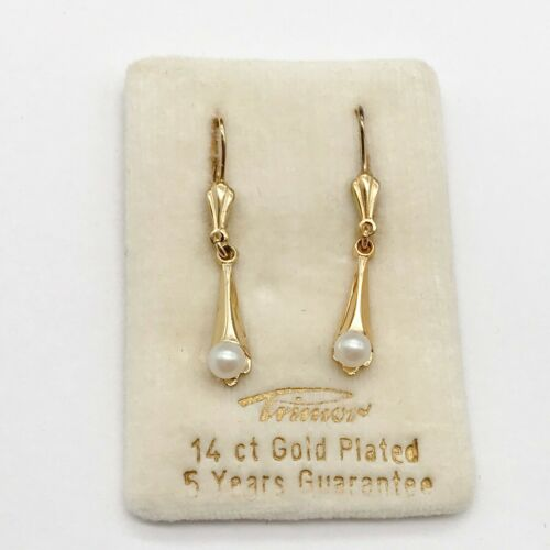 VINTAGE 14CT NOT 9CT GOLD PLATED PENDANT DROPPER DANGLY PEARL LADIES EARRINGS