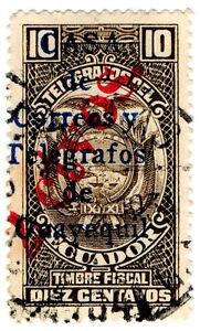 I-B-Ecuador-Telegraphs-Guayaquil-10c-multiple-overprints