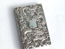 Antique Chinese Export Silver Card Case by Wang Hing c.1890/1900 Dragon & Prunus