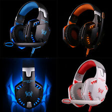 EACH G2000 USB Kopfhörer Stereo Gaming LED Headset Headband Mic für PC Game blau