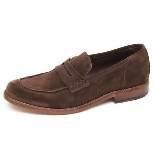 finest selection 191ad cb2c8 Details about E8816 mocassino uomo brown HUNDRED 100 scarpe suede loafer  shoe man