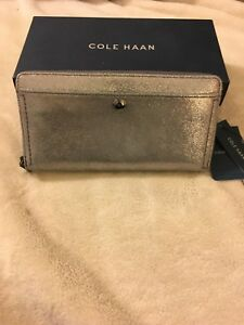NWT-Ladies-Women-Cole-Haan-Benson-Shimmer-Continental-Wallet-Anthracite-Leather