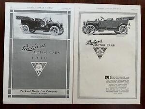 V Packard 1910 Ads Lot of 2  13 3/4 x 9 1/3