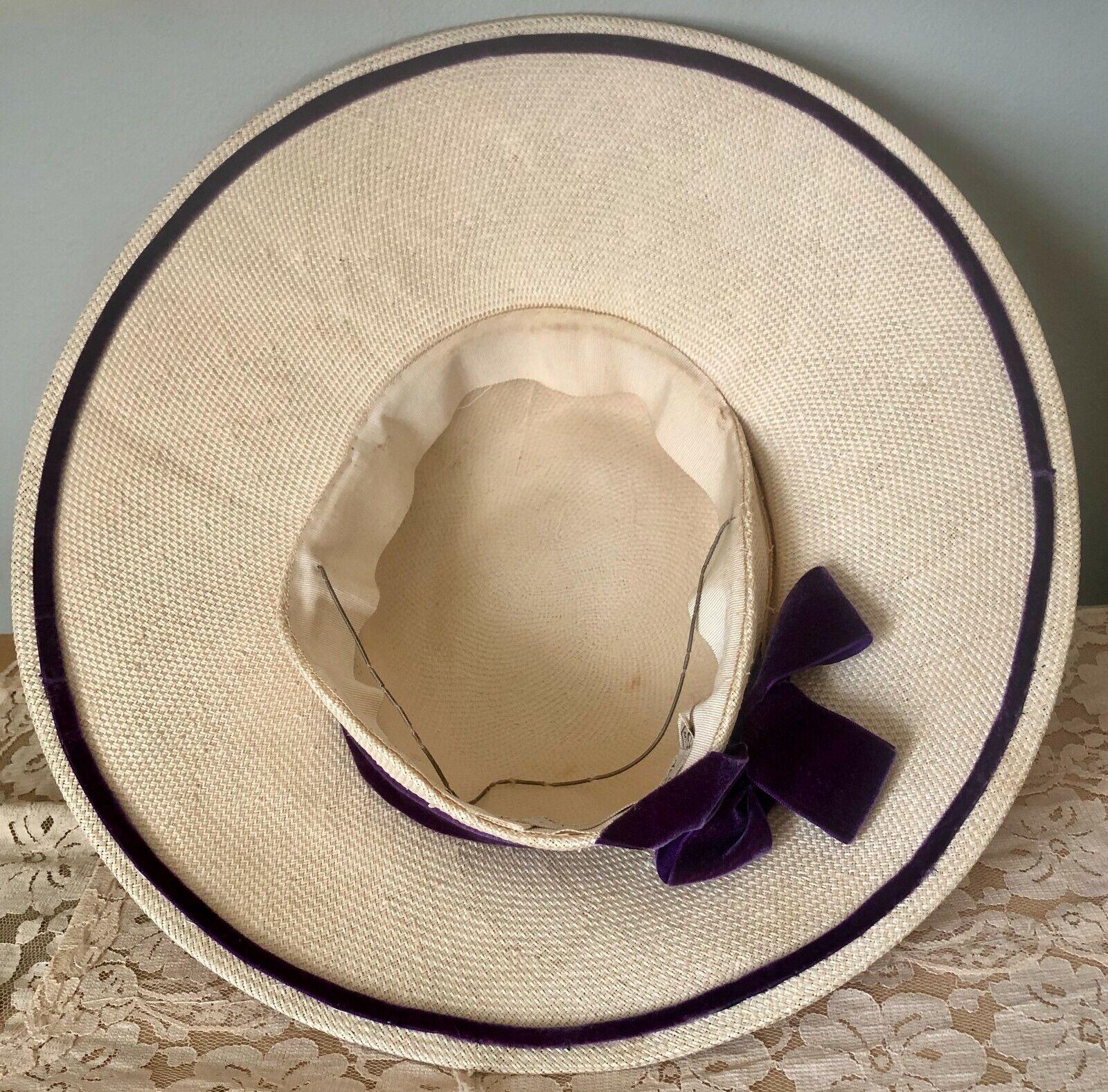 VINTAGE 1940's GERMAINE STRAW WIDE BRIM TILT HAT … - image 6