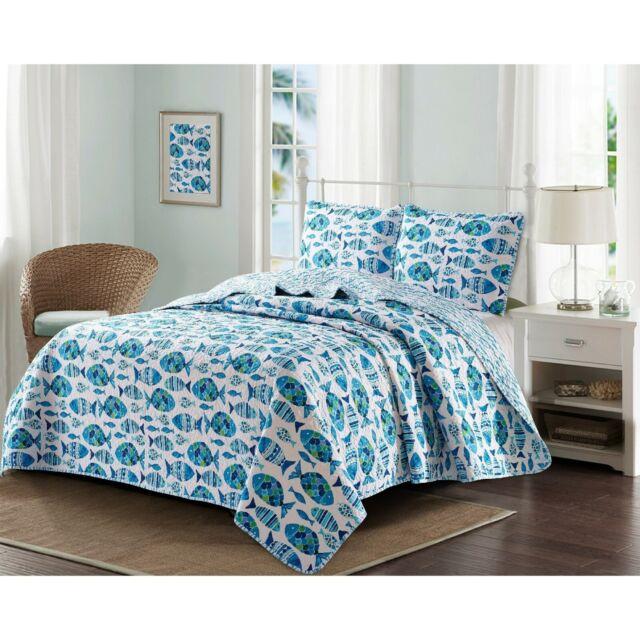 Coastal Quilt Set Queen Comforter Microfiber Bed Bedding Cover Sea Fish Design For Sale Online Ebay