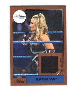 WWE-Natalya-2017-Topps-Heritage-Bronze-Event-Used-Shirt-Relic-Card-SN-17-of-99