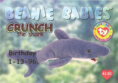 Series 1 Birthday TY Beanie Babies BBOC Card NM//M RED - CRUNCH the Shark
