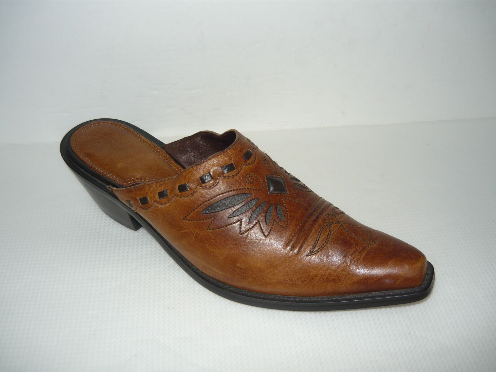 Sonora Brown Leather Mule Slide Western shoes Size 8M