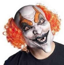 NWT-Ghoul Adult Kids Devilish Clown Soft Vinyl Mask & Wig Halloween Accessory