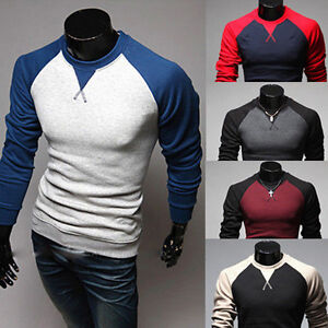 New-Men-039-s-Fashion-Casual-Shirts-Slim-Fit-Crew-neck-Long-Sleeve-Tops-Tee-T-shirt