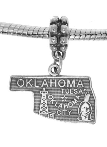 STERLING SILVER TRAVEL STATE MAP OF OKLAHOMA DANGLE EUROPEAN BEAD CHARM